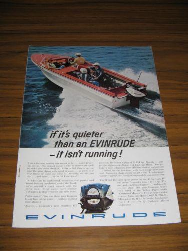 1961 Print Ad Evinrude Starflite Outboard Motors Lone Star Boat
