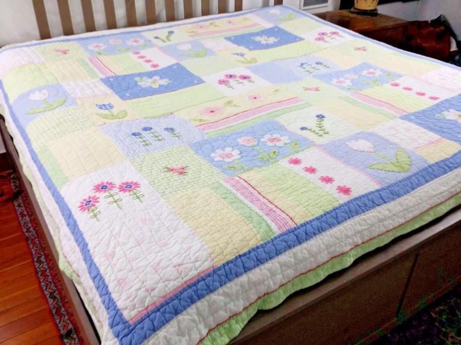 Pottery Barn Kids Queen Quilt Tulip Daisy Green Striped Patchwork Pillow