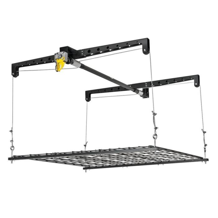 Overhead Garage Storage Organizer Cable Pulley Lift Platform Ceiling Rack System