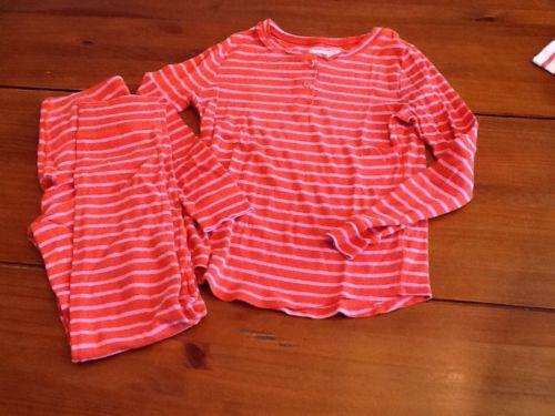 Crewcuts Pj Set Orange Pink Stripe Cotton 12