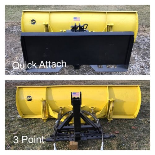 Quick Attach AND 3 Point Tractor Hydraulic Snow Plow 6.5' Wide - SEE VIDEO