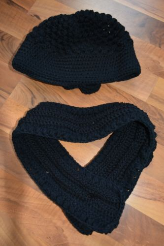 Womens Black Hand Knitted Hat and Scarf