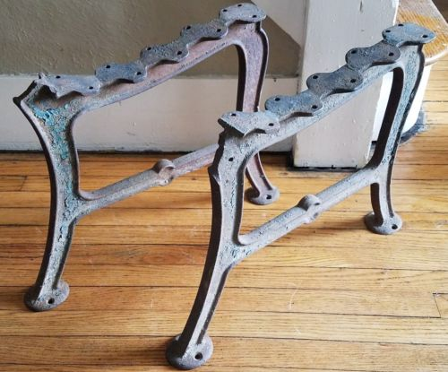 RARE ANTIQUE CAST IRON BENCH ENDS HIGHLY COLLECTIBLE INDUSTRIAL STEAMPUNK