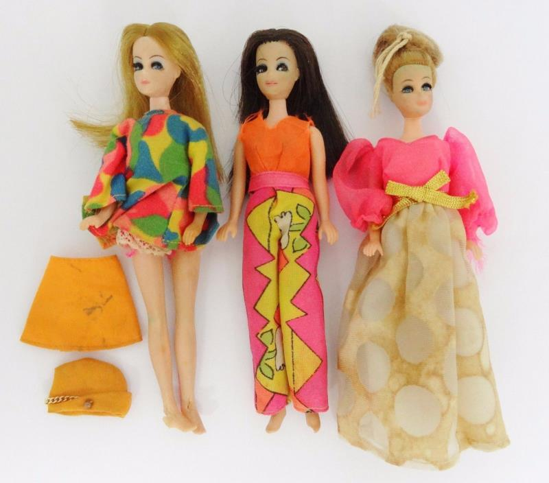 LOT 3 VINTAGE TOPPER DAWN DOLLS 6 INCH WITH CLOTHES