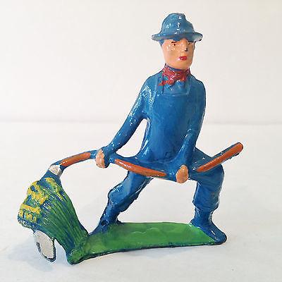 VTG Manoil Lead Toy Happy Farm Farmer swinging Scythe Man Train Layout 41/8