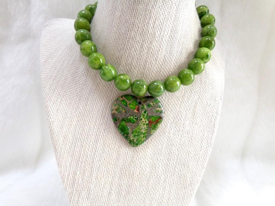 GREEN SEA SEDIMENT JASPER FOCAL HEART PENDANT BEAD WITH  STRAND OF LOOSE BEADS