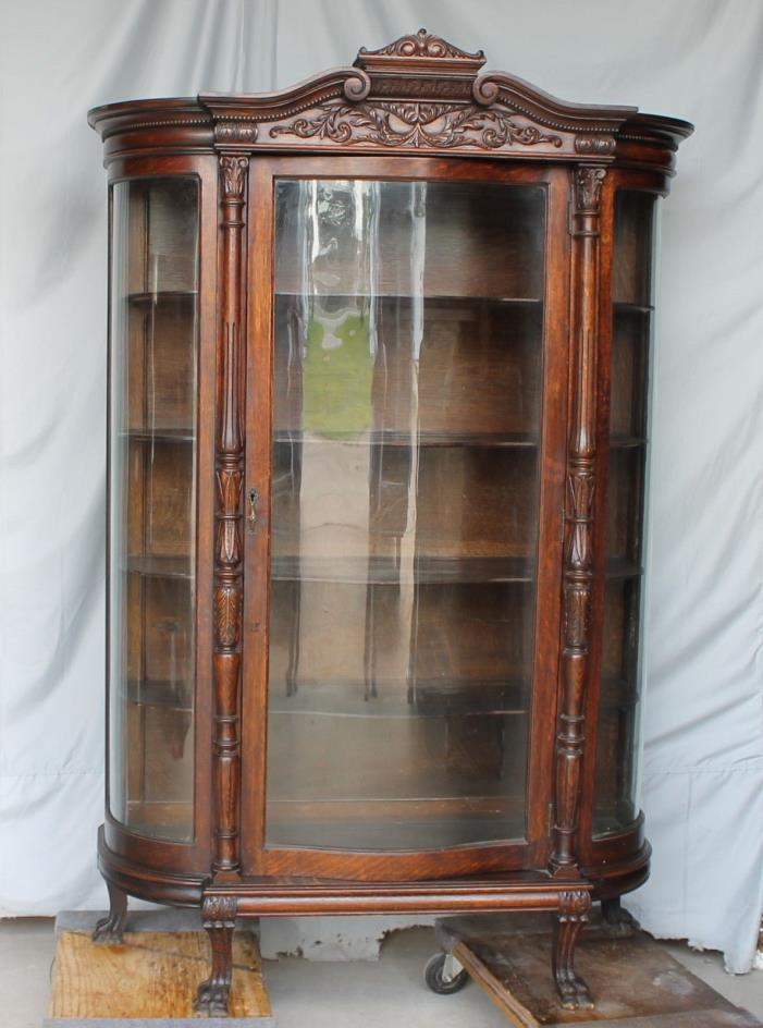 Curved glass curio cabinet for sale classifieds for Curio cabinet spot