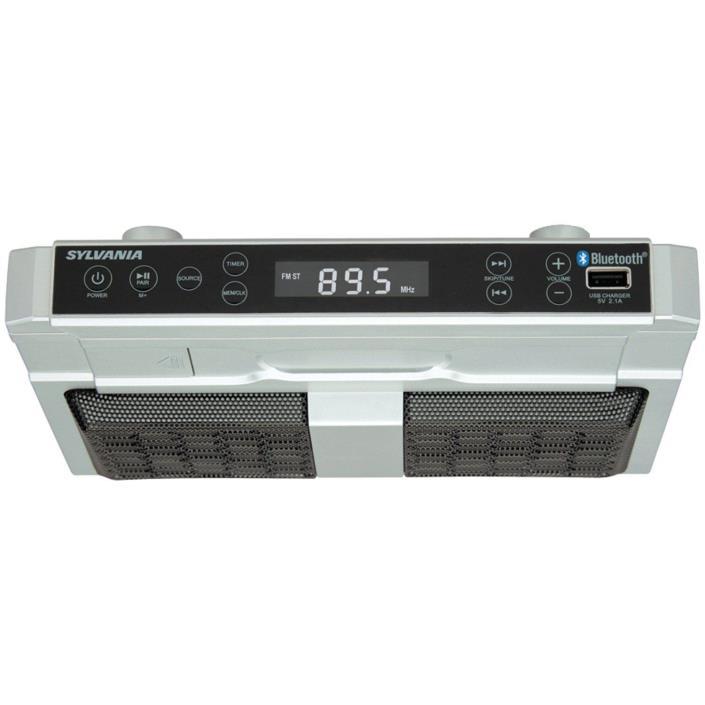 Sylvania SKCR2810BT Under Cabinet Clock Radio, Music System with Bluetooth Strea