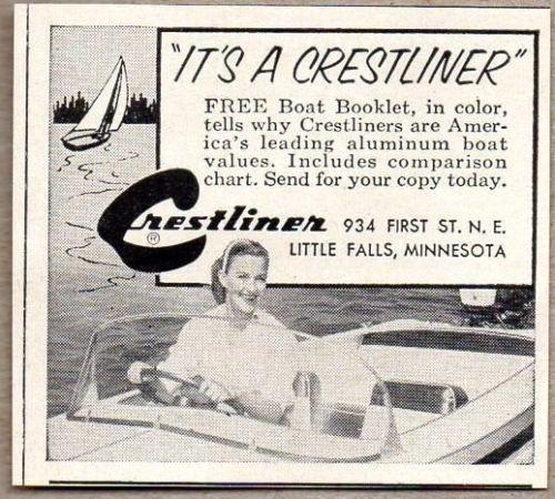 1957 Print Ad Crestliner Aluminum Boats Little Falls,MN