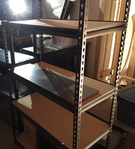 Metal and Plywood Shelving Unit