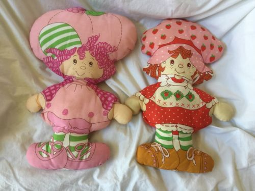 Vintage STRAWBERRY SHORTCAKE & RASPBERRY TART Pillow Panel Fabric Cloth Dolls