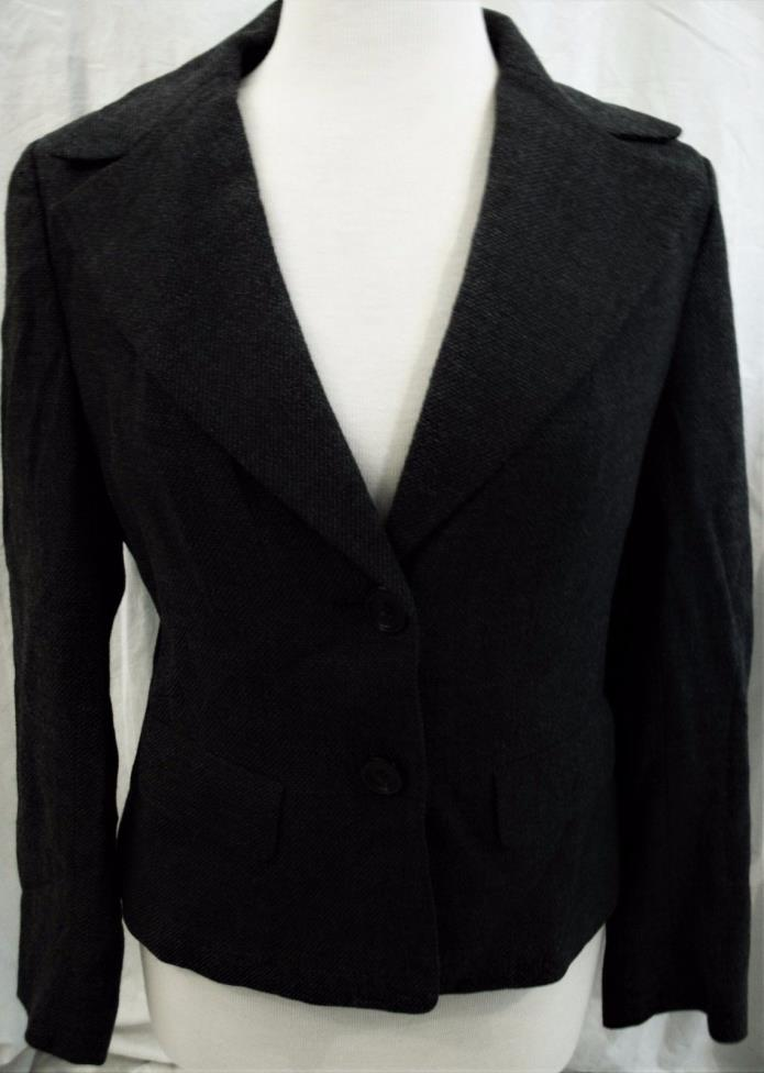 ANN TAYLOR SIZE 10 BUSINESS JACKET, BLACK & WHITE TWEEDE, 2 BUTTON STANCE