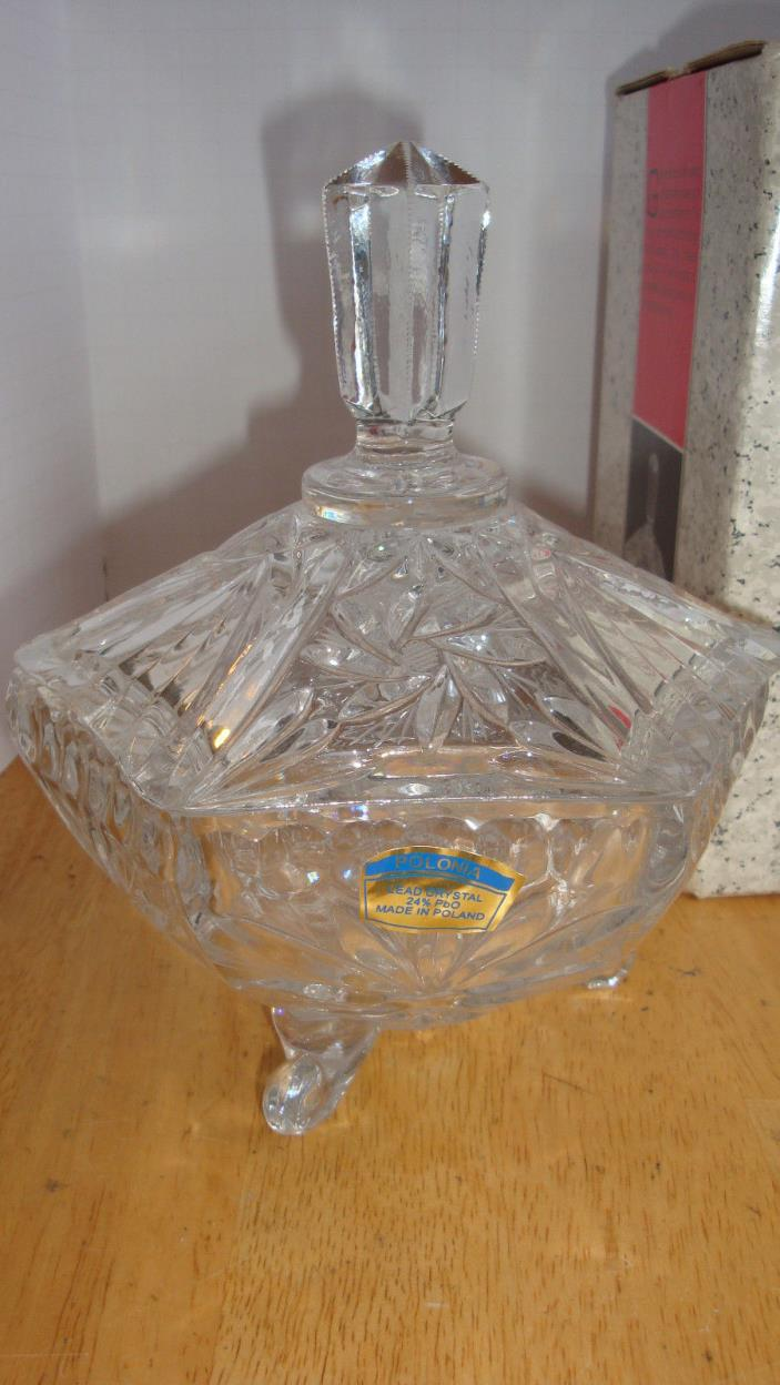 MILLER IMPORT LEAD POLONIA CRYSTAL GLASS COVERED CANDY DISH IRENA