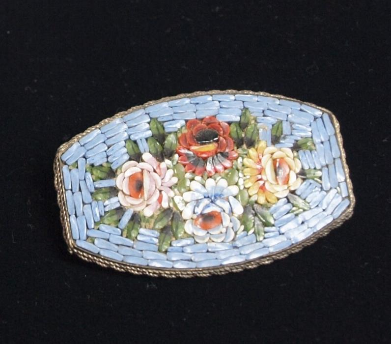LARGE VINTAGE ITALY INLAID MOSAIC COLORFUL FLORAL PIN/BROOCH!