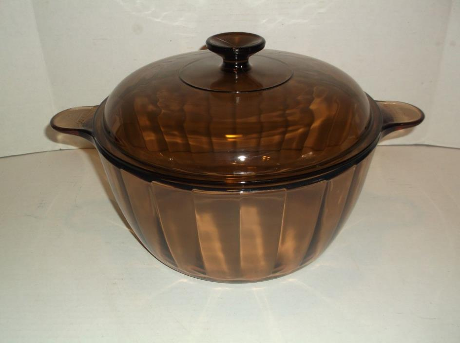 5 Qt Corning Visions RARE PANELED Dutch Oven Stock Pot  Amber Pyrex Cookware: