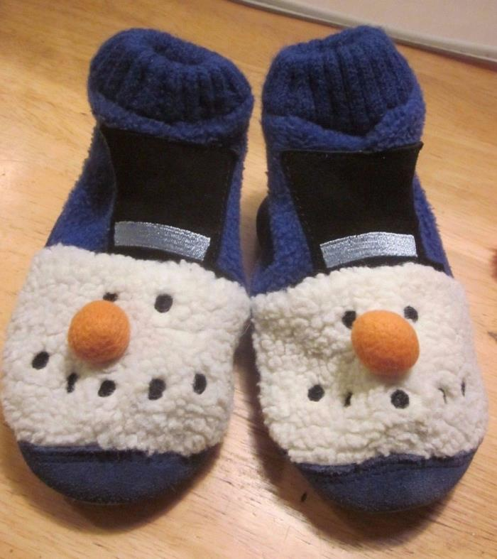 Toddler Boys or Girls Size 6 M Land's End Snowman Slippers Blue Fleece