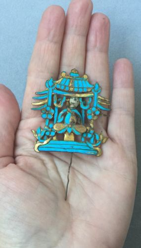Antique Chinese Kingfisher Gilt Silver Hair Pin