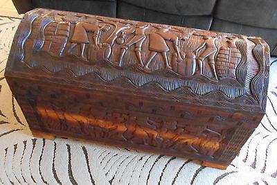 Haitian trunk, solid wood, hand carved, Haiti