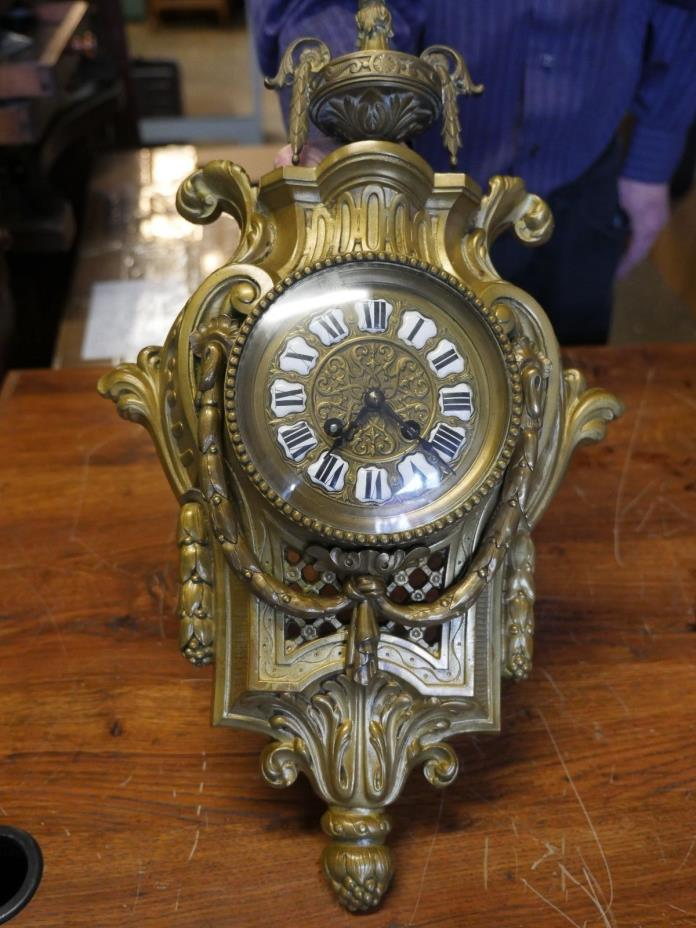CLASSY ANTIQUE FRENCH VICTORIAN SOLID BRASS CARTEL WALL CLOCK