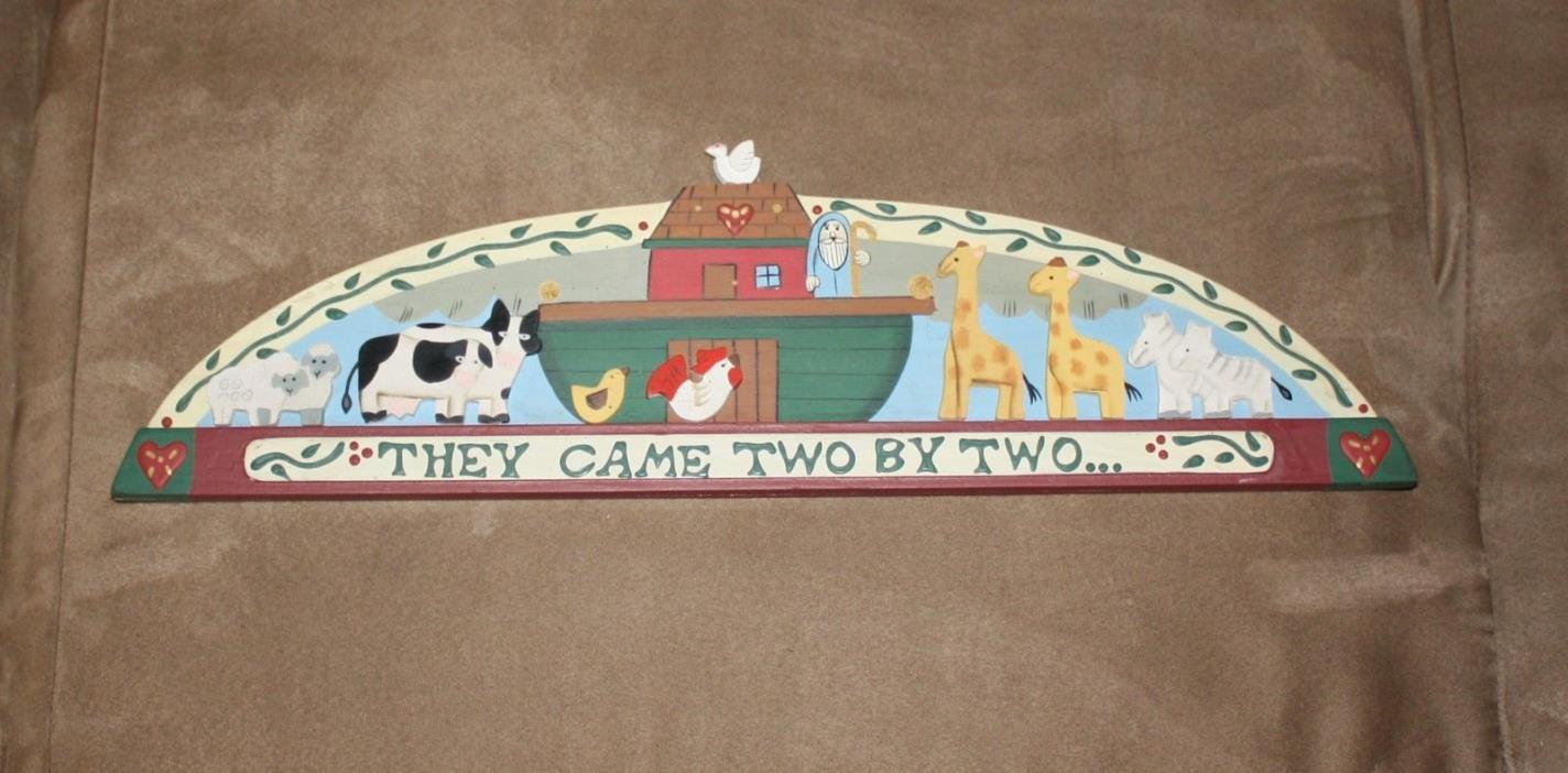 Noah's Ark Decor Animals Kids Room Painted Wall Hanging Wood Art - Giraffe Zebra