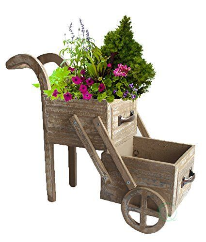 Wood Rustic Wagon Wheel Barrel Planter 2 Tier Cart Stand Pots Antique Drawer NEW