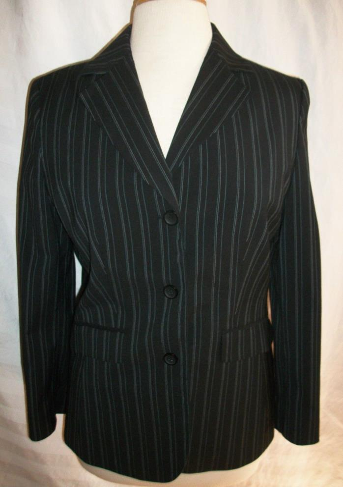 EUC! ANN TAYLOR SZ 6 BLACK PIN STRIPED BLAZER, FITTED, BUSINESS POLYESTER BLEND