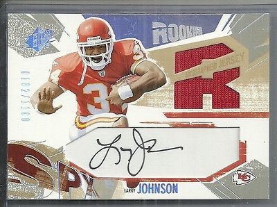 2003 SPx - LARRY JOHNSON - Autograph Rookie Game Jersey - CHIEFS #205