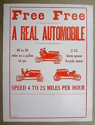 Antique SHAWMOBILE SHAW Buckboard Car Automobile Advertising Sign Poster