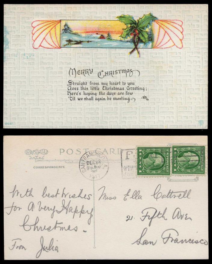 Christmas Greeting Card 1917 San Francisco Food will Win the War WWI Cancel #630