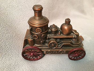 ~~ 1974 Banthrico Inc Metal Coin Bank Steam Fire Engine