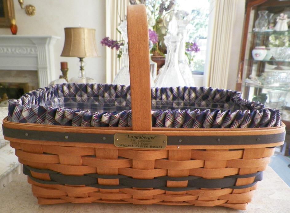 Longaberger Original Easter Basket 1993 Ed. JW Collection w/ Liner