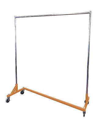5' Foot Economy Steel Z Rack Garment Rack w/ OSHA Orange Base & Chrome Uprights