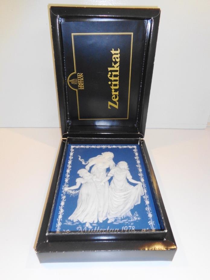 Mettlach/ Villeroy and Boch 1978 GERMAN JASPERWARE PLAQUE Orig Box - RET $100.00