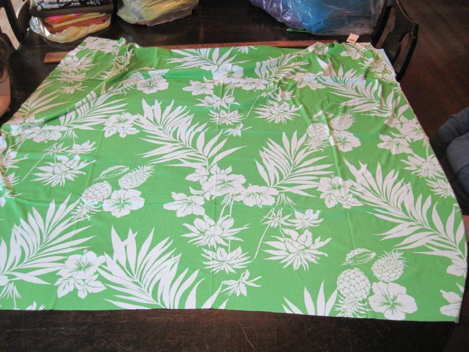 Vtg JBJ Inc Fabric Hawaiian Print White on Bright Green T-Shirt Knit 56