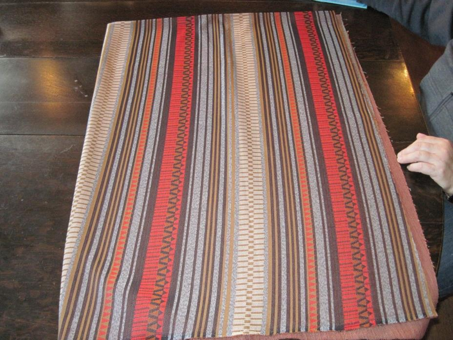 Vtg Double Knit Fabric Thick Thin Stripes 66