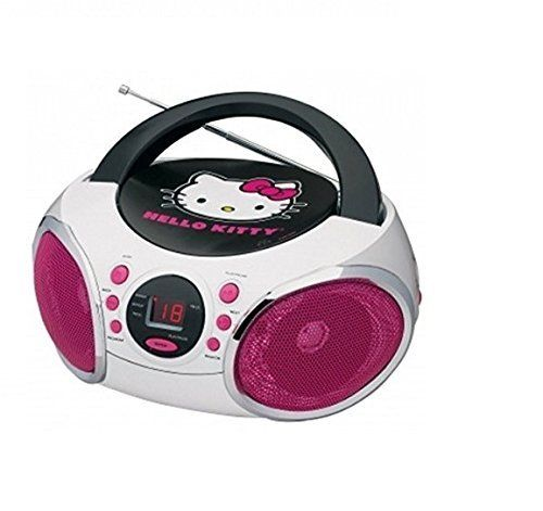 Hello Kitty CD Boombox with AM/FM Radio and LED Light Show KT2025 New