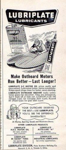 1957 Print Ad Lubriplate Outboard Marine Oil Small Race Boat