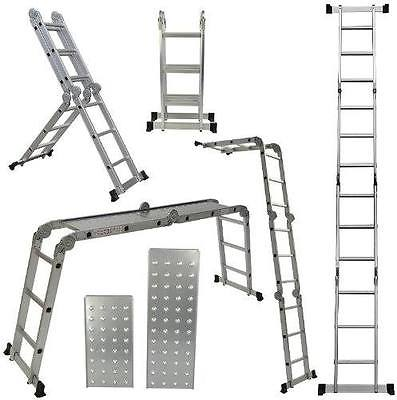 Multi Purpose 12.5 Foot Aluminum Alloy Heavy Duty Scaffold Ladder Foldable New