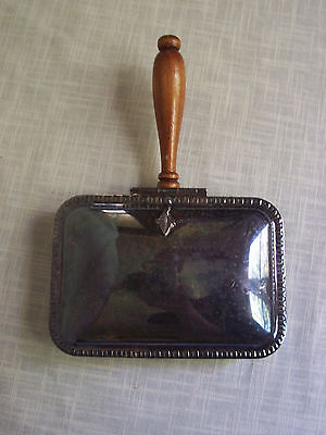Vintage Silverplate Crumb Catcher with Wooden Handle