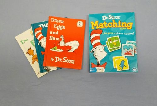 Dr. Seuss Cat In The Hat Matching Game New and 3 Dr. Seuss Books