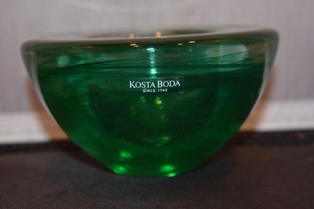 Kosta Boda Atoll Green Swirl Candle Holder - Sweden