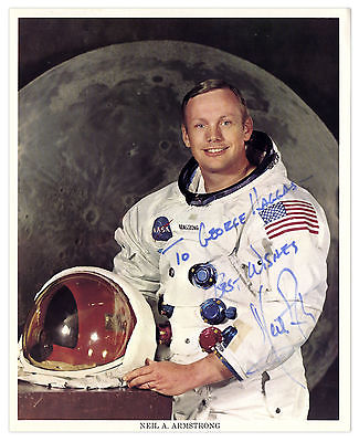 Neil Armstrong 8'' x 10'' Signed Color Inscribed Photo