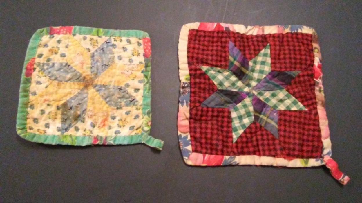 Vintage, hand sewn, quilted pot holders