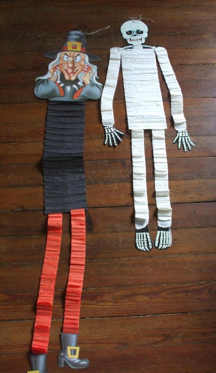 Vintage Halloween Witch and Skeleton Cardboard Decorations Accordion Crepe Paper