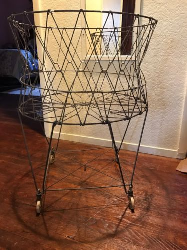 Vtg Allied Metal Collapsible Laundry Basket On Wheels
