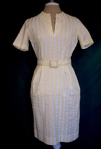 Vintage 50s Yellow White Stripe Seersucker Cotton Dress B36 AnR Jr.