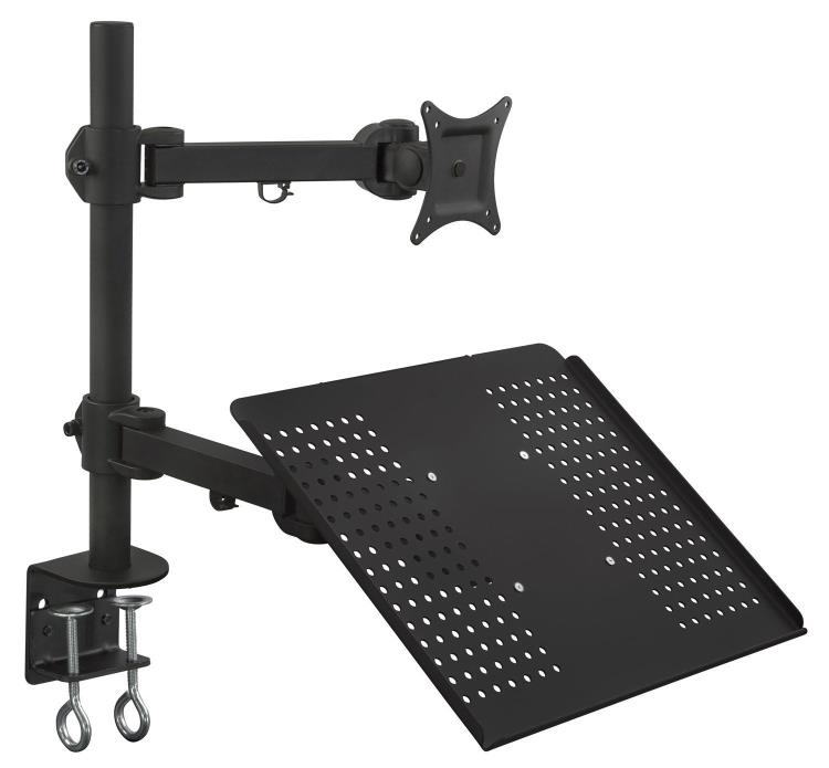 Mount-It! Laptop Desk Stand and Monitor Mount, Full Motion Height Adjustable