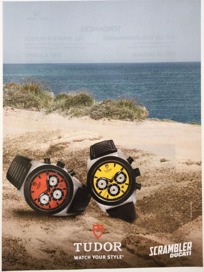 2015 TUDOR SCRAMBLER DUCATI Fine Watch  FRENCH Magazine PRINT AD