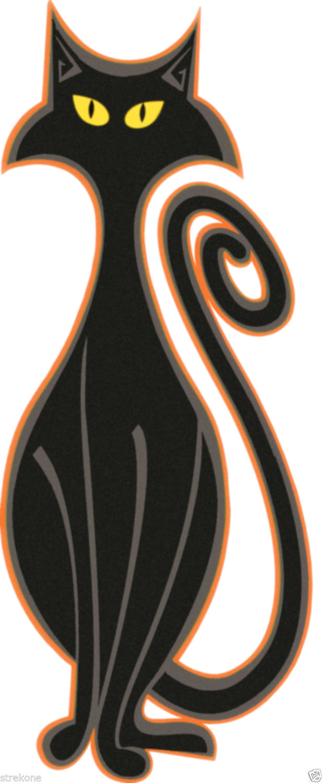 BLACK MAGIC Spooky Halloween Kitty CAT Art Window Cling Sticker Decal -FREE Ship