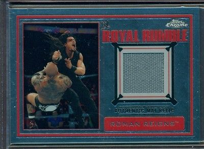 2014 TOPPS CHROME WWE WRESTLING ROYAL RUMBLE EVENT-USED MAT RELIC ROMAN REIGNS